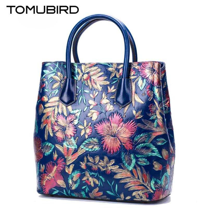 TOMUBIRD 2017 new superior cowhide leather Painting Genuine leather embossed women Leather Handbags Tote leather shoulder bag tomubird new superior cowhide leather classic designer embossed crocodile leather tote top handle handbags genuine leather bag