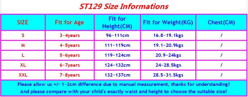 ST129 size chart