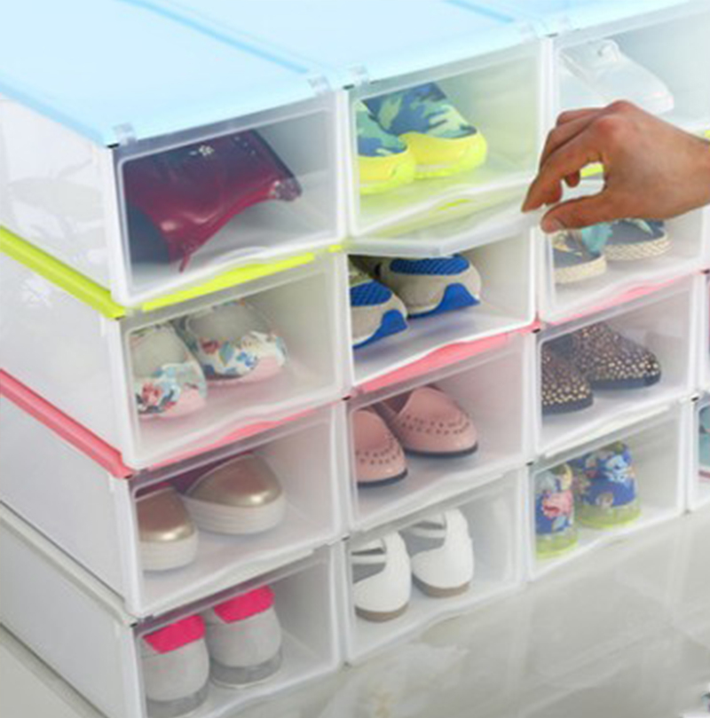 Thicky Colored Transparent Plastic Clamshell Shoebox Storage Box Drawer Shoe Boots Organizing Boxes Almacenaje De Zapatos