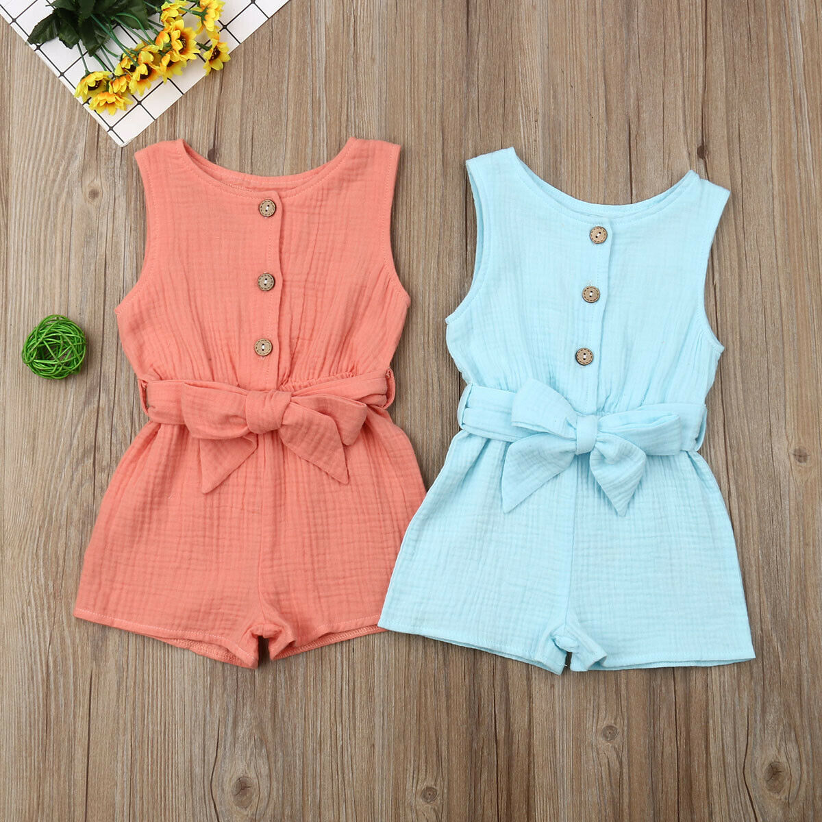 Summer Baby Girl Clothes Sleeveless Home Dress Kids Gift Sweet  Jumpsuit Age 0-18 Cotton Sleeveless Romper Overall Outfit