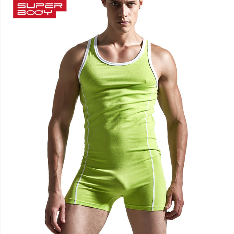 Brand Superbody Sexy Men Bodysuit Gay Penis Pouch Boxers Man Body Suits Male Bodybuilding Underwear Cotton Tank Top Singlet