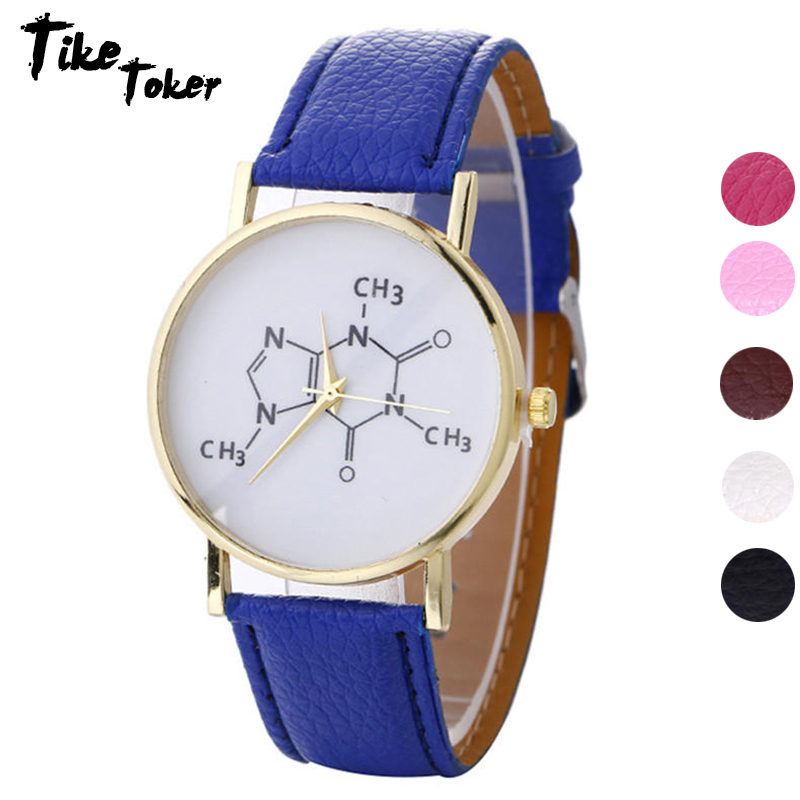 TIke Toker Fashion Chemical Formula Pattern PU Leather Watch For Women Digital Pattern Unisex Student Watch Drop Shipping