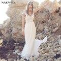 Najowpjg 2017 New Arrive Delicate Beading Ivory Beach Wedding Dress Summer Sexy Deep V-Neck Vestido De Noiva Backless Plus Size