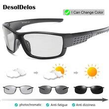 Driving Polarized Square Photochromic Sunglasses Men Chameleon Glasses Driver Goggles UV400 Fishing Sunglases P018
