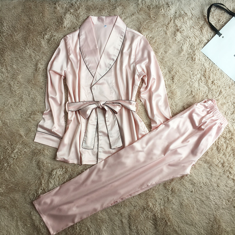 QWEEK Women   Pajamas     Sets   Satin Sleepwear Casual Home Clothing Sexy Lingerie Pyjama Home Suit Elegant Sleep Lounge Silk Pijama