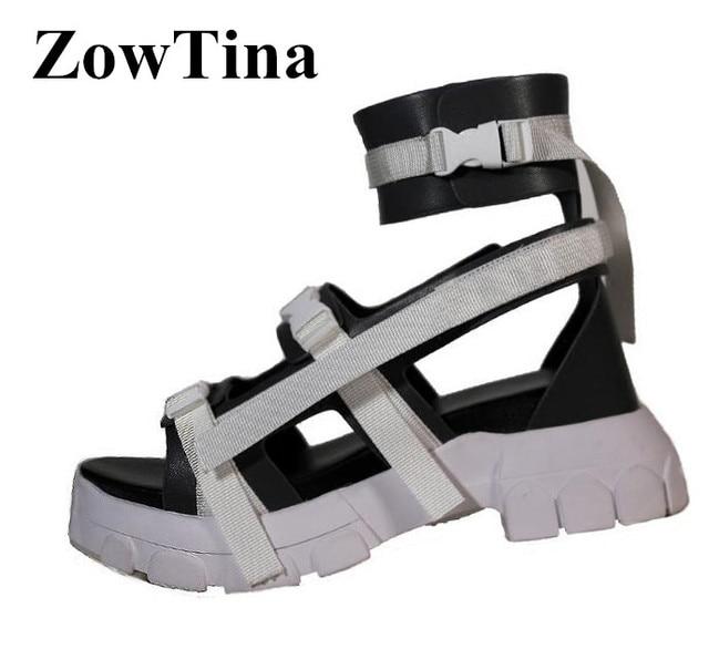 d3414c93bffc Women Gladiator Platform Sandals Ankle Strap Buckle Flats Summer Shoes  Women Fashion Punk Ladies Sandalias Mujer Stilettos