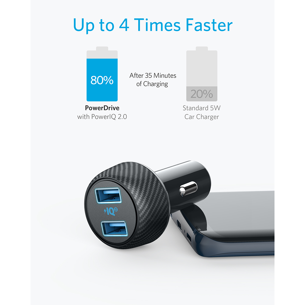 Image 2 - Anker 30W Dual USB Fast Charger,Compatible with Quick Charge Devices,PowerDrive Speed 2 with PowerIQ 2.0 for Galaxy iPhone etc-in Car Chargers from Cellphones & Telecommunications
