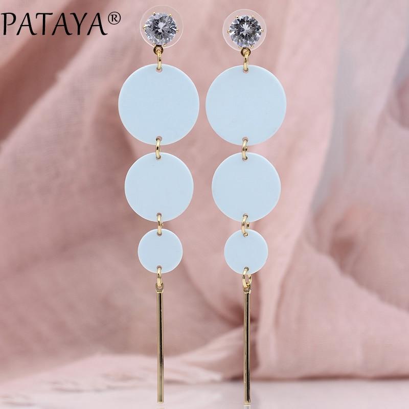 PATAYA New Korean Style Blue Long Earrings Macaron Color Women Fashion Jewelry 585 Rose Gold Round Natural Zircon Stud Earrings