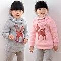 2015 новых зимних плюс бархат сгустите детьми толстовка мультфильм оленей девочки капюшоном детская одежда мода толстовки grils одежду