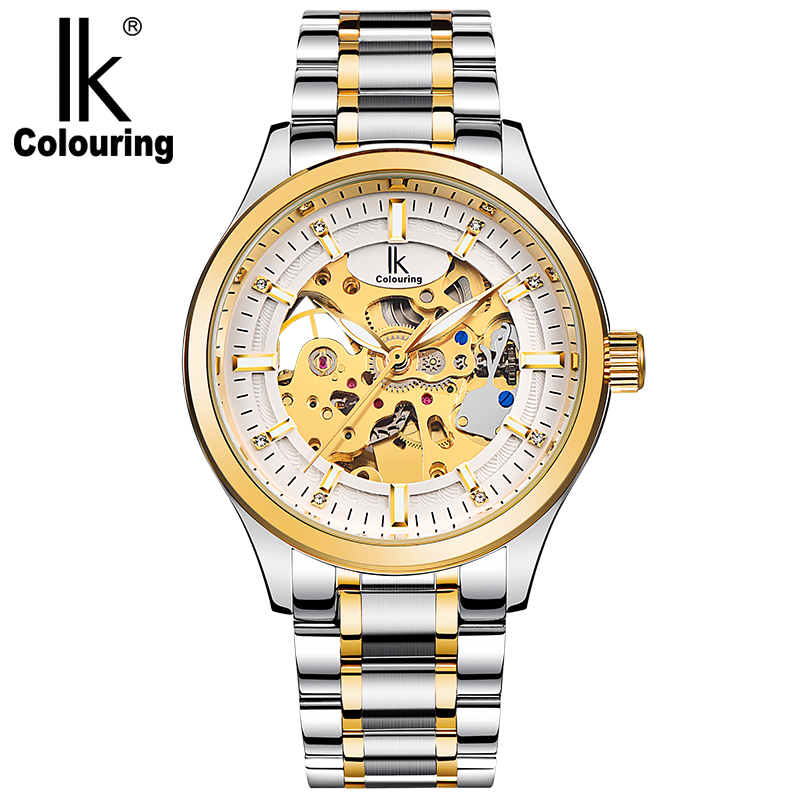 IK Colouring Luxury Men's Gold Black Hollow Skeleton Retro Stainless Steel Watch Automatic Mechanical Waterproof Clock Gift все цены