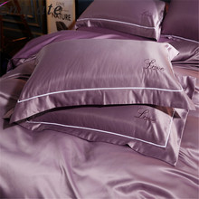 Enipate 1 Pair Luxury Embroidery Pillow Cases Pure Mulberry Silk LOVE Super Soft Couple Pillowcase Bedroom Pillow Covers 48*74cm