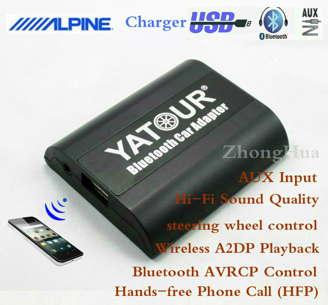 Yatour Bluetooth Hands-free Phone Call Car Adapter YT-BTA for Alpine AI-NET AUX Input Wireless Playback Free shipping car usb sd aux adapter digital music changer mp3 converter for skoda octavia 2007 2011 fits select oem radios