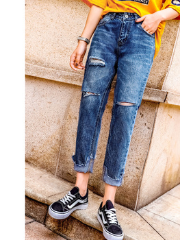 JUJULAND New 2019 Jeans Women Denim Pants Holes Destroyed Knee Harem Pants Casual Trousers Stretch Ripped Jeans 6021