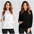 Sexy Casual Hoody Pullover 2016 Autumn Women Lace Long Sleeve Hoodies Solid Black Sweatshirts Ladies Leisure Tops Blusas