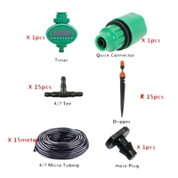 15M Micro Drip Irrigation Set With Water Timer Misting Sprinkler Dripper Plant Self Watering Garden Water Irrigation Kits|Water Cans|   -