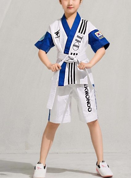 Summer 4color short sleeve Tae kwon do uniforms boys girls kids taekwondo suits TKD clothing children