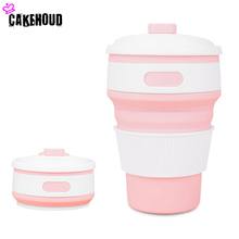 цены CAKEHOUD 350ml Portable Collapsible Silicone Folding Retractable Coffee Tea Cup For Hiking Travel Outdoor Activities Cup