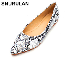 SNURULAN New Arrival Spring /Autumn Women's Loafers Women Flat Heel Shoes Snake Print Slip-On Pointed Toe Causal Shoe Flats E348