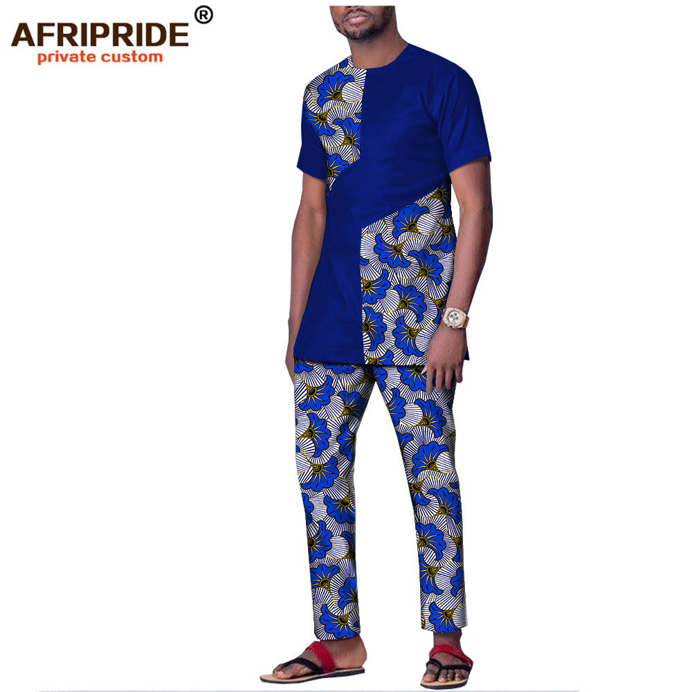 2019 Spring&autumn African Print Cotton Set For Men AFRIPRIDE Short Sleeves Top + Ankle Length Pants Casual Men's Set A1816004