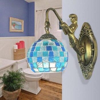 מודרני אופנה אירופאי פסיפס כחול זכוכית שרף מנורת קיר סלון מיטת N1483