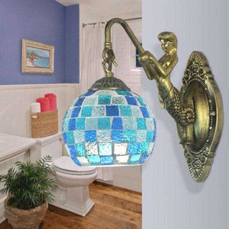 modern fashion European Mosaic blue glass resin wall Lamp For bedside living room N1483modern fashion European Mosaic blue glass resin wall Lamp For bedside living room N1483