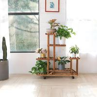 Garden Flowers Bonsai Display Shelves Solid Wood 6 Tiers Plant Stand with Wheels for Yard Patio Balcony