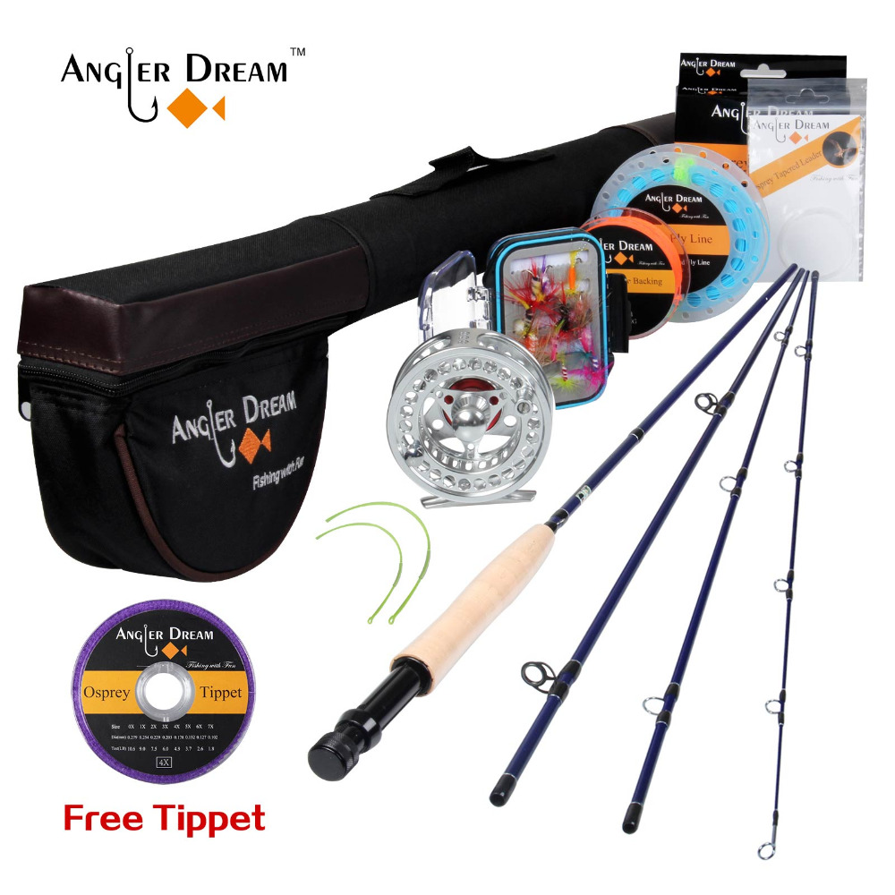 Angler Dream Fly Fishing Set Kit Fishing Rod 9FT 5WT and Reel Rod Combo with Flies Fly Fishing Line Set Tying Materials maxway 3 4 5 6 7 8 fly fishing rod and reel combo with flies fly fishing line set fly fishing set