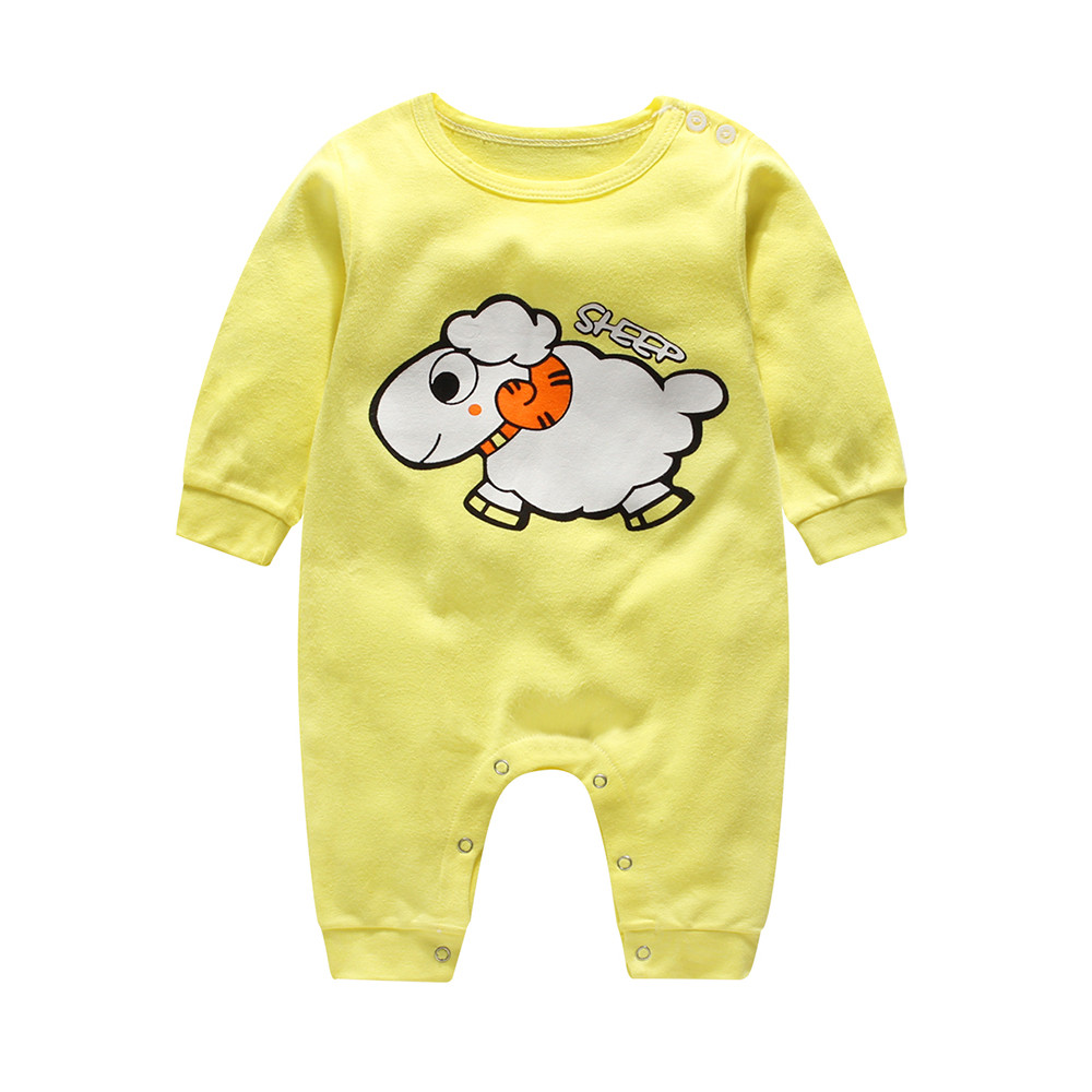 CHAMSGEND Pink Green Yellow three style Infant Baby Boy Girl Cartoon Long Sleeve Romper Cute Jumpsuit Climbing Clothes ag2 P30