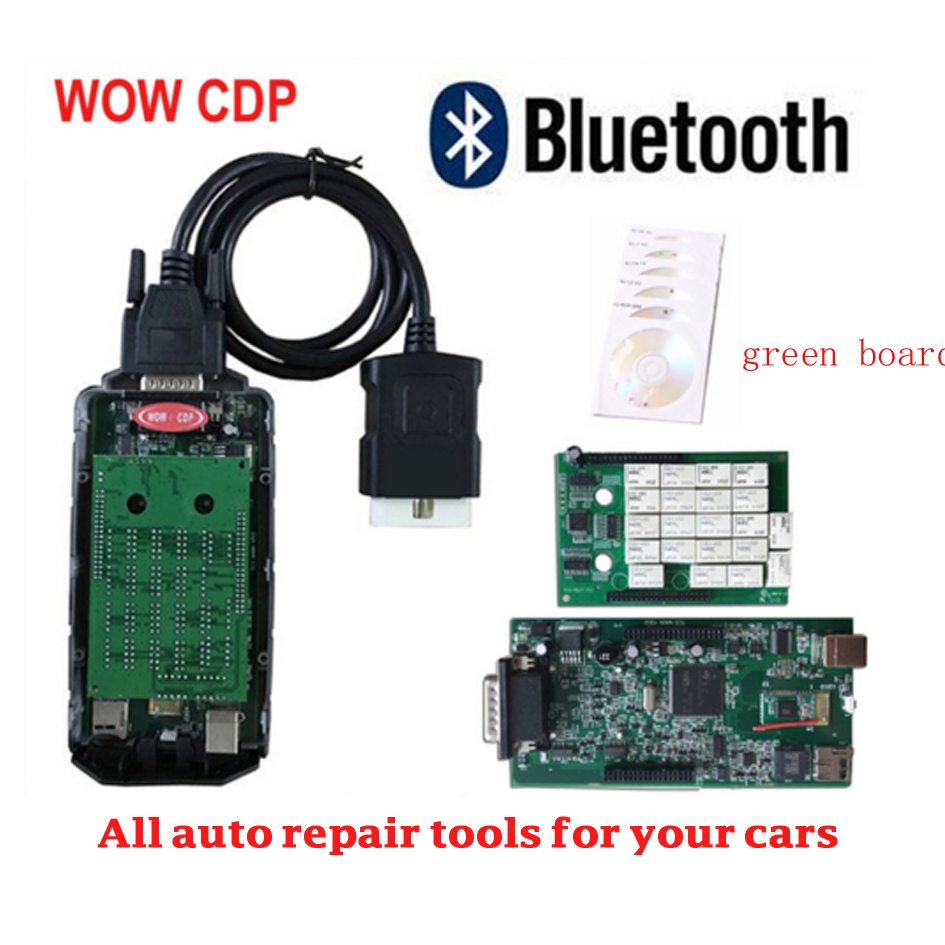 Free shipping with ne c green board and bluetooth fuction wow cdp new vci obd2 code