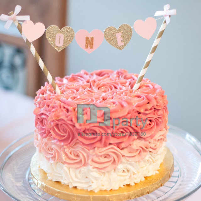 Cool Pink And Gold One Cake Banner First Birthday Cake Banner One Cake Personalised Birthday Cards Cominlily Jamesorg