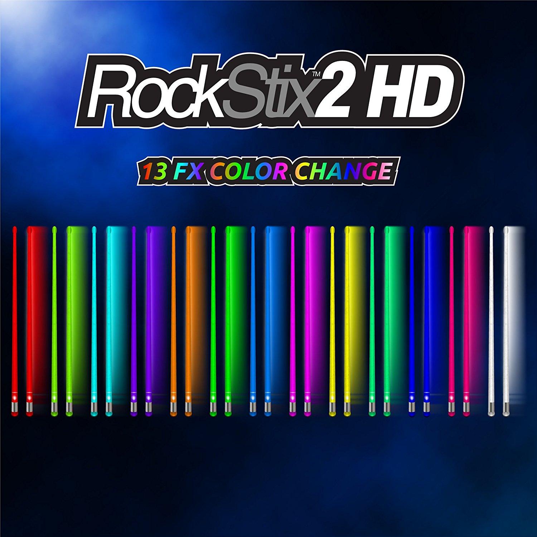 Rockstix 2 HD 13 Color Change, Bridge LED Light Up Drumsticks, 13 Amazing Color Change, with fade effect, Set your gig on fire!