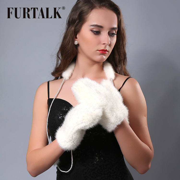 FURTALK Winter Women Natural Mink Fur Gloves 22*10 cm