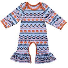 Хэллоуин оранжевый комбинезон с изображением тыквы Джек-о-фонарь Пижама Рождество новорожденных Детские платья девушки приедут домой цветочный ребенок душ подарок