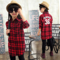 Girls Clothes Spring Autumn Fashion Shirt Striped Plaid Girls Blouse Casual Overshirt Children Clothing 4-15 Years Kids Clothes