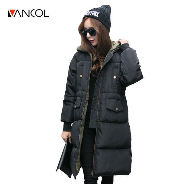 Vancol 2016 Black Plus Size Coat Female Korea Thicken Warm Oversize Winter Coat Retro Jacket Park with Hood Women's Down Jacket
