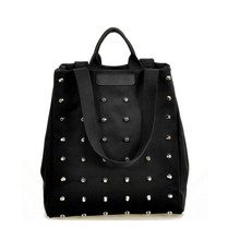 Fashion Unique Punk Rivet Canvas Women Top-Handle Bags Girl Handbags Tote Bags Ladies Shoulder Bag Black Shopper Bag Bolsas