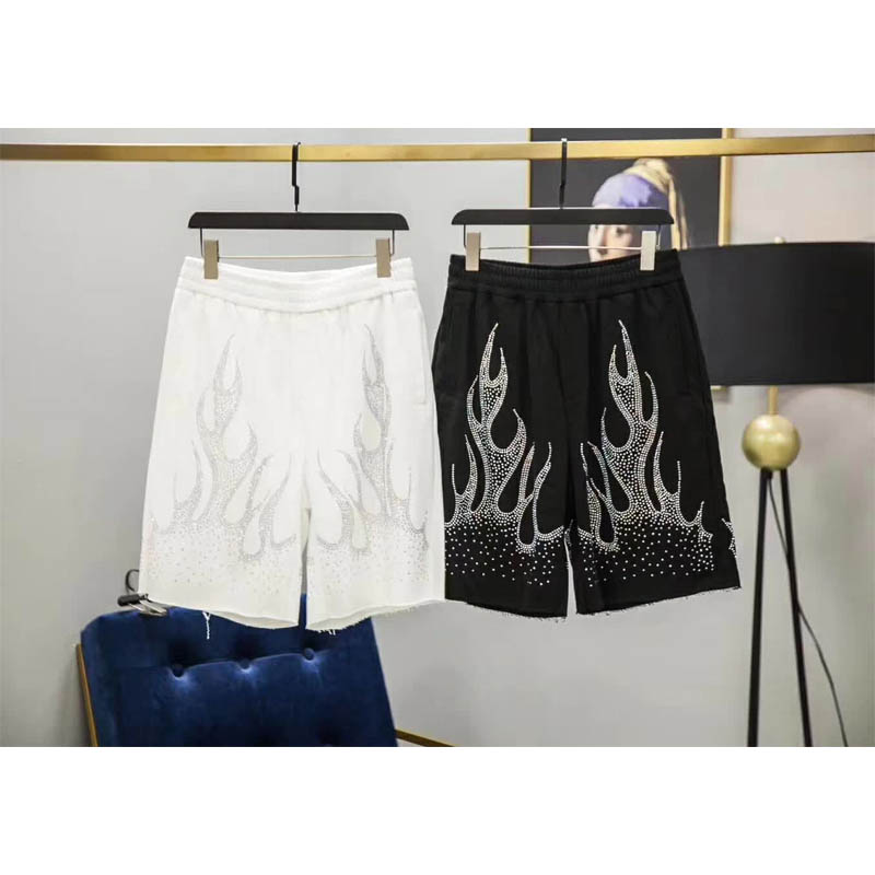 Palm Angels   Shorts   19SS Spring Summer Men Women High quality Palm Angels   Shorts   Flame Flash Drill Logo Casual   Shorts