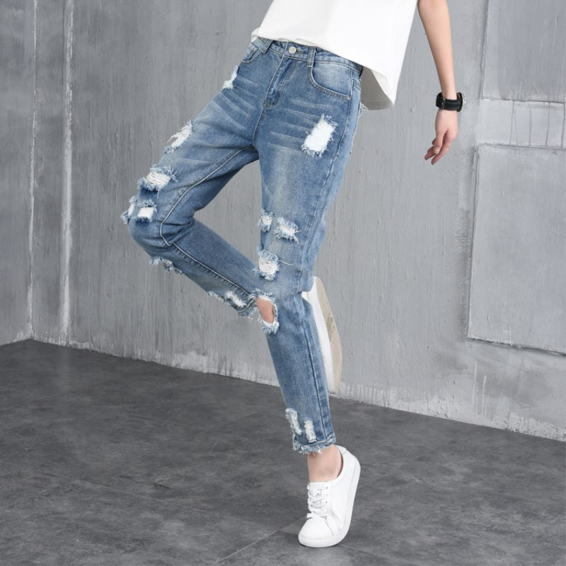 Jeans Pants Women 2017 Spring Ankle-Length Pants Mid Waist Button Fly Washed Ripped Pencil Korean Style Large Size Jeans Hole225