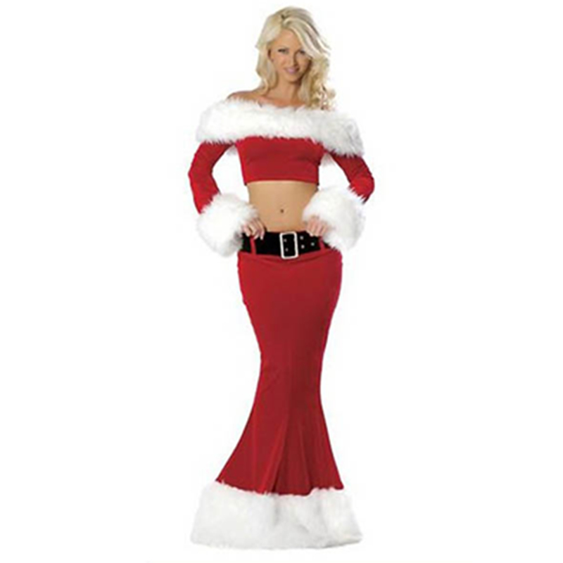New Designer Hot 2015 Long Sleeve Red Two Pieces Red Mermaid Christmas Costume Santa Costumes For Adults L7017