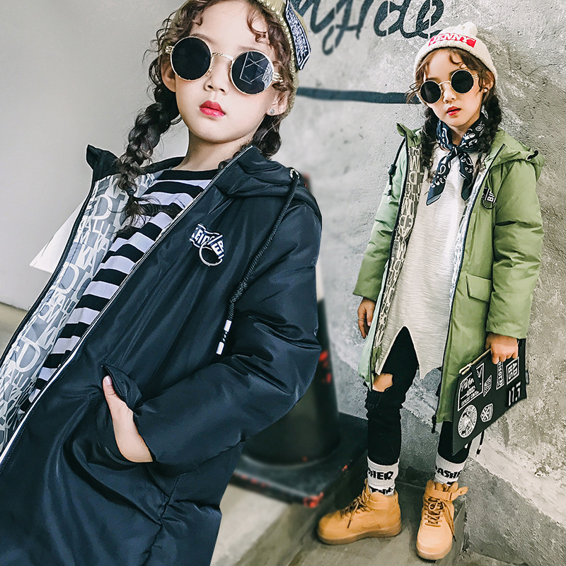 Girl long Korean tide thick warm down jacket winter for size 6 7 8 9 10 11 12 13 14 years child new black blue green outerwear children cowboy jacket coat hooded 2017 winter new tide thick cashmere long outerwear size 4 5 6 7 8 9 10 11 12 13 years girl