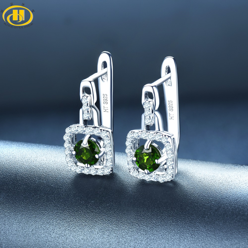 Hutang Diopside Clip Earrings Natural Gemstone Solid 925 Sterling Silver Fine Fashion Crystal Stone Jewelry For Women's Gift New wholesale new fashion trendy 925 sterling silver zircon natural gemstone crystal green diopside pendant drop earrings for women