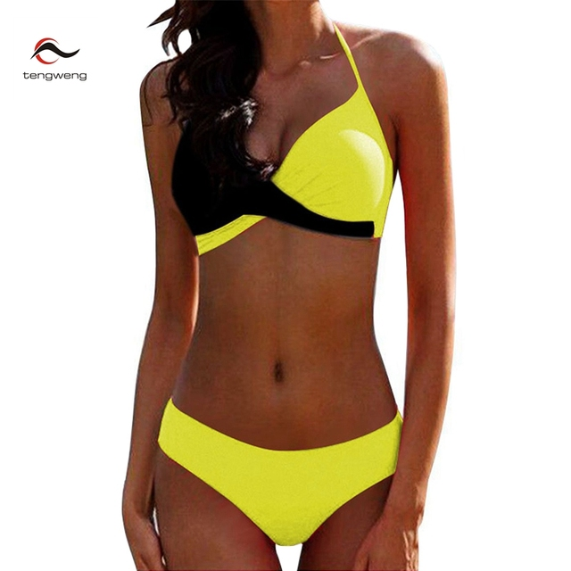 1755a2b5cde6e 2019 Sexy Push up Two piece Bikini Women Swimsuit Criss Cross Halter  Bikinis Plus size Female Bathing suit Swim wear Beachwear