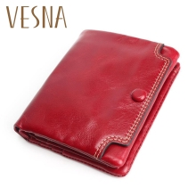 Mini Wallet Small Oil Leather New TAUREN High Quality Genuine Women Coin Purse Credit Card Photo Holder