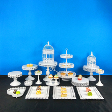 Tobs White Metal Cupcake Stand Cake Set With Lace Edge For Wedding Birthday