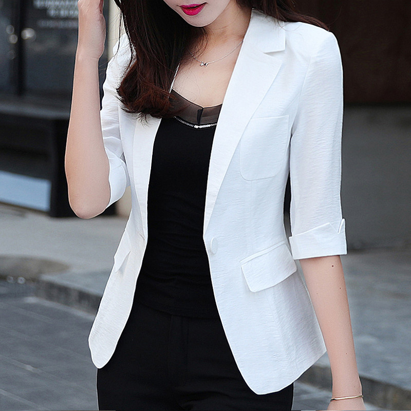 Cotton And Linen Blazer Women Three Quarter Sleeve Blazer And Suits Fashion Plus Size Women'S Outwear Coats And Jackets MA115