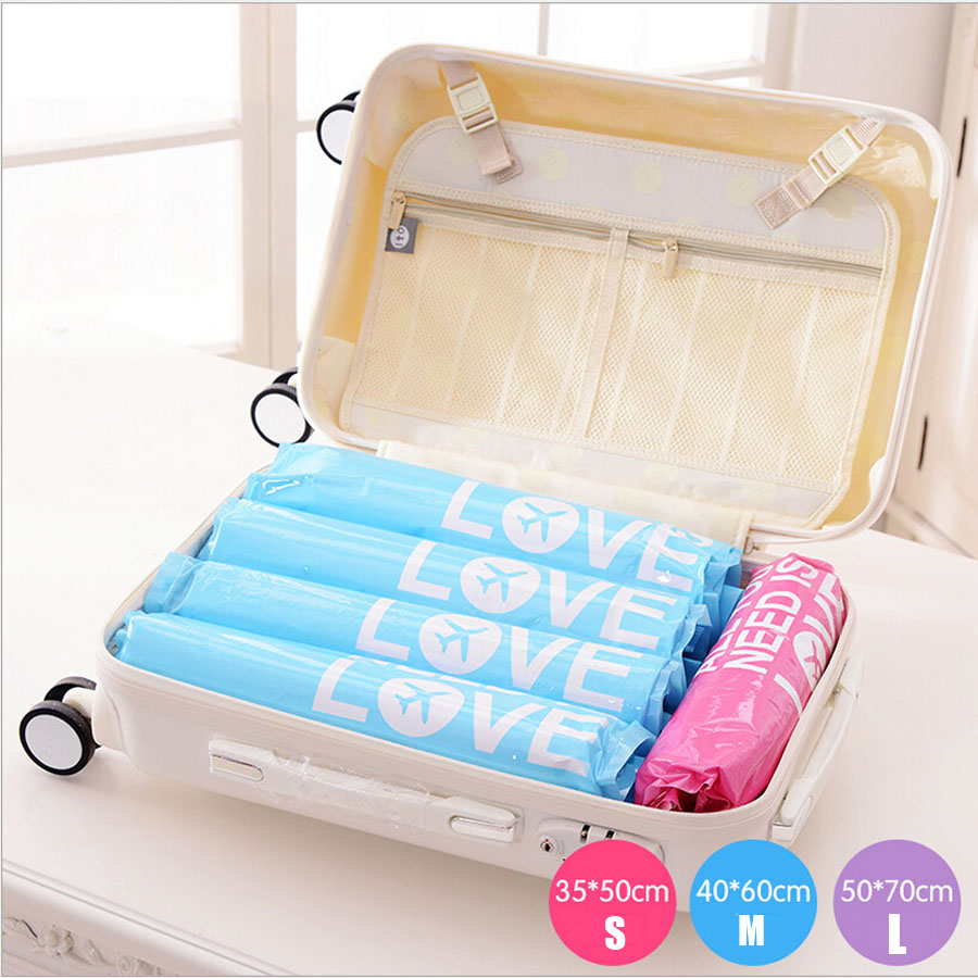 2 Pcs Hand-Rolled Space Saver Storage Bags Compressed Space Vacuum Seal Saver Storage Travel Bag Compression Storage Bags Bins