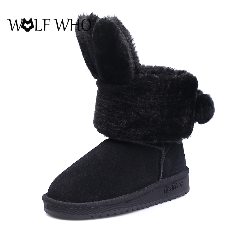 WOLF WHO Rabbit Ear Snow Boots Women Pink Fur Boots Flat With Women's Winter Shoes Black Ankle Boots for Women Short Botas Mujer 2016 rhinestone sheepskin women snow boots with fur flat platform ankle winter boots ladies australia boots bottine femme botas