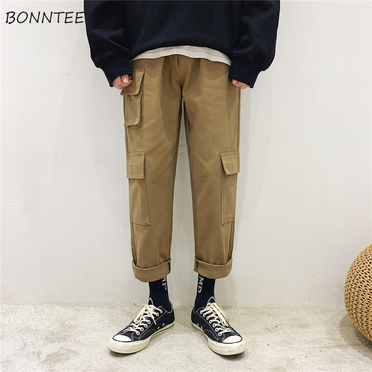 Pants Men Harajuku Pockets Retro Straight Loose Solid All Match Mens High Quality Males Ulzzang Trousers Daily Elastic Waist