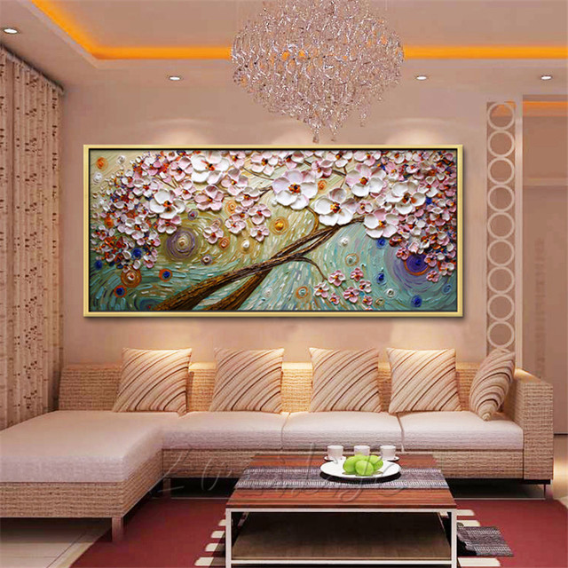 Canvas Painting Hand Painted palette knife 3D texture ...