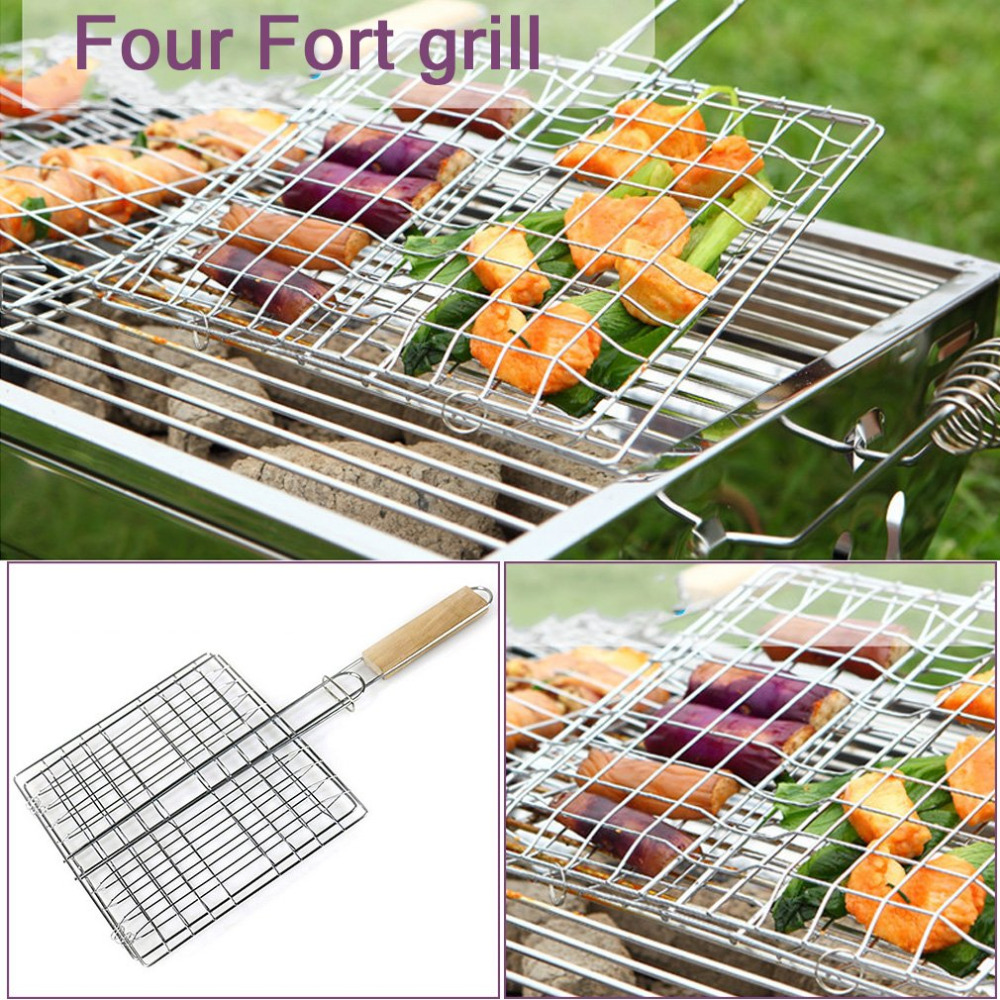 PREUP 2 Types Barbecue Doublefish Clips Iron Wire BBQ Net Grill BBQ Tongs Fried Shovel Bread Meat Vegetable Clamp BBQTools